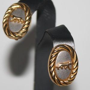 Large cat Lion Clip on earrings Vintage